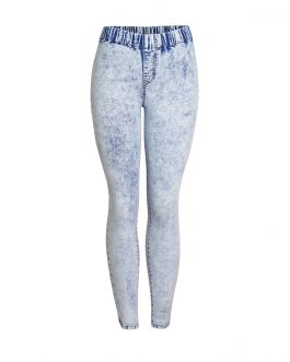 New Arrival Women Fashion Sexy Elastic Waist Tight Denim Skinny Legging Pencil Washed Blue Jeans