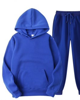 Solid Color Hoodie and Jogger pant two Piece Workout Clothes Women 2020