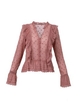 Pink Sweet Ladies Fancy Embroidered Lace Chiffon Ruffled Long Sleeve Blouse Shirt for Women