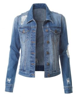 Wholesale Women Custom Buttons Denim Jean Jacket