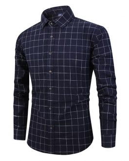 wholesale Custom Essential Formal Casual Work Regular Fit Long Sleeve Plaid 100%Cotton  shirt for Men