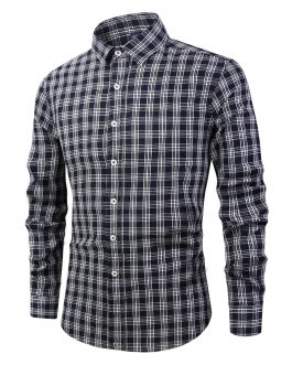holesale Custom Essential Formal Casual Work Regular Fit Long Sleeve Plaid 100%Cotton Polo Tuxedo Office shirt for Men