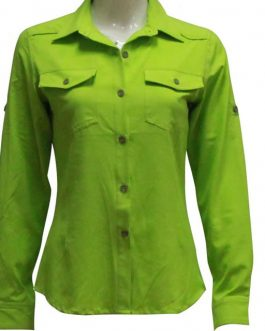 Quick dry solid color hiking sports woven long sleeve shirt for women