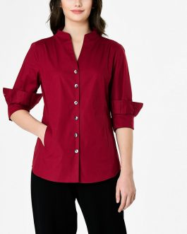 Accept custom solid color woven casual shirt for women
