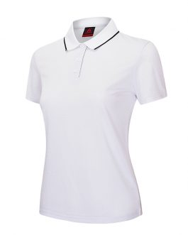 Fashion OEM cotton custom logo women t-shirt wholesale solid polo shirt