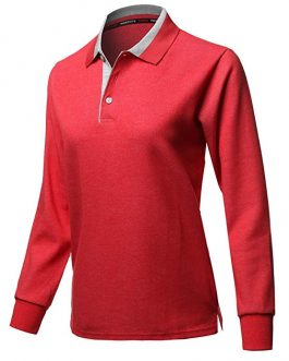 New design fashion women cotton long sleeve polo shirt