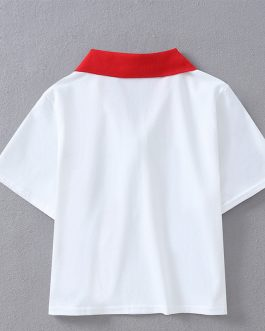 2019 New Summer Fashion Women Casual Short Sleeve Slim Crop Tops Polo Shirts