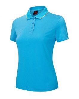 Fashion OEM cotton custom logo women t-shirt wholesale solid polo shirt