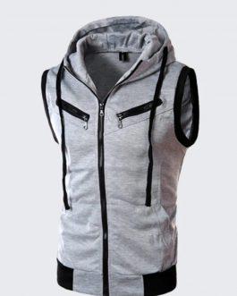 Wholesale Price Mens Custom 100% Cotton Sleeve less Hoodie ,New Design Cheap Mens Sports Hoodie 100% Cotton (Copy)