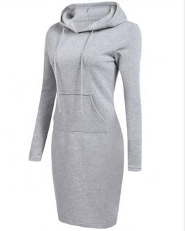 2020 fashion plain pockets pullover casual Hoodies women long sleeve hoodies dress