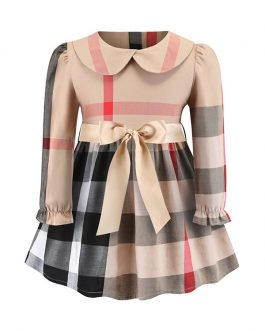 2020new kids branded dress 3-8years girls long sleeve plaid dresses with bow-belt for spring and autumn