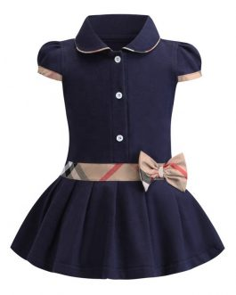 2020new kids girls casual plaid bow dresses polo collar dropshipping