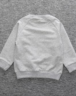Hot Sale Wholesale Black Grey Long Sleeve Cotton Boutique Toddler Baby Boy Sweatshirt