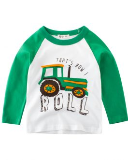 kids wear boys t shirts with cute boy cartoon fire truck round collar