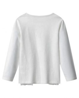 Girls Tops Pure White Soft Printing Long Sleeves With Sequins Shiny Dots Mesh Decoration