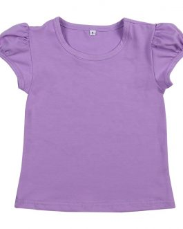Girls Summer Casual Tee Shirts Tops Monogram Cup Sleeve Baby Girls Cute T-shirt Collection