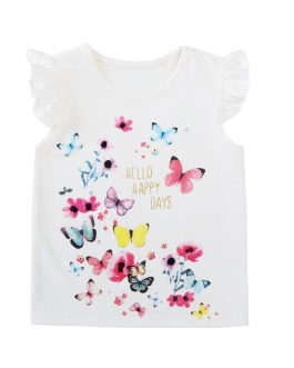 Casual Girls Tops Pure White Soft Butterfly Printing Tee Shirt Collection
