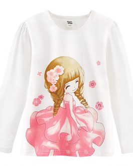 Girls Cotton T-shirts Pretty Flower Girl T-shirt Tops Collection