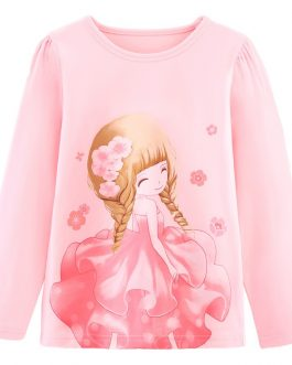 Casual Summer Style Girls Cotton T-shirts Pretty Flower Girl T-shirt Collection