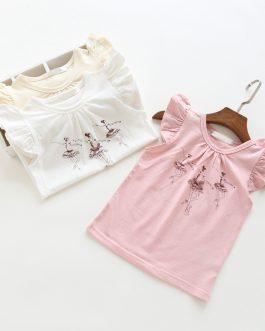 Child Girl Ballet Girl Summer Cotton O Neck T-shirts Collection