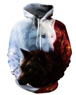 Latest Wolf Printing Men's Casual Hoodies Best Selling In Market Polyester And Spandex