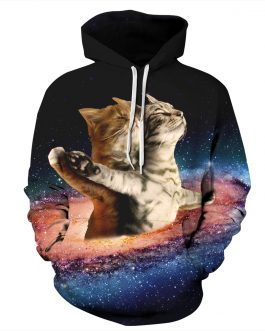 Romantic Titanic Cats Printing Unisex Casual Hoodies Made by Polyester And Spandex