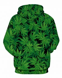 Unisex Casual Hoodies Leaves Printed Made by Polyester And Spandex