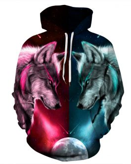 Unisex Wolf Printing Casual Hoodies Made by Polyester And Spandex
