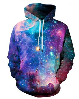 Milky Way Printing Men's And Unisex Casual Hoodies Made by Polyester And Spandex