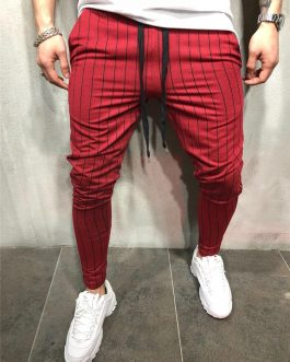 Strip Track Pants Custom Tapered Fit Casual Zipper Pocket Men Jogger Pants