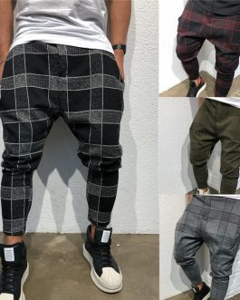 Men's Sport Pants Long Summer Slim Fit Plaid Trousers Running Joggers Sweatpants Ankle-Length Pant