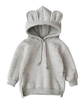 Fox Print Bear Ears Animal Hoodies Boys Casual Pullover Collection