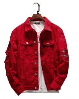 New Fashion Plain Washed Cotton Casual Red Men's Denim Jeans Jacket Collection