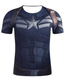 Captain America Printing Men's Streetwear Short Sleeve T Shirt