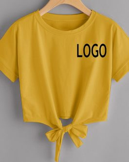 Customize Logo Bottom Lace Knot Summer Hip hop Strip And Solid Short Sleeve T-shirt Collection