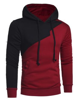 New Contrast Style Hot Sale Blank Workout Pullover Men Hoodie
