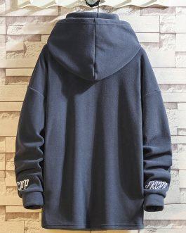 Hoodies For Mens Printed LOGO Oversized High Neck Fleece Fashion Sportswear Men Hoodies