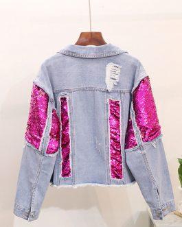 Custom Fashion Coat Women Sequin Design Plus Size Denim Jacket Collection