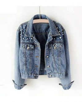Latest Fashion Pearl Jacket Women's Denim Jean Jackets Collection