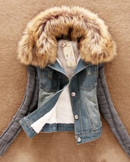 Autumn Winter Ladies Jean Jacket Women Coat With Fur Collar Long Sleeve Hooded Denim Jacket Collection