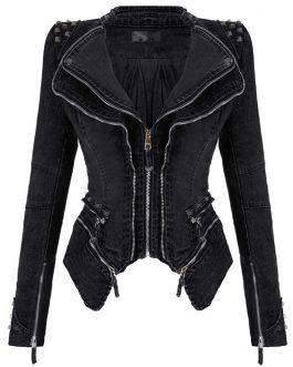 Fashion Rivet Punk Rock Jacket Motorcycle Zipper Woman Denim Jacket Collection