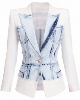 Fashion Jean Jacket Winter Wears Stitching Denim Jacket Women Collection