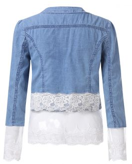 Casual Style Winter Wears Stitching Denim Jacket Women Collection