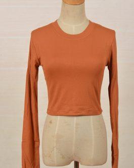 Plain Crop Women's Long Sleeve Custom Print Streetwear Casual T-Shirt Collection