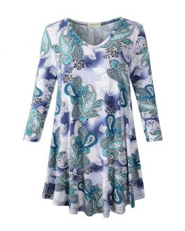 All Over Printed Womens V-Neck Pleated Floral Print Long Sleeve Casual T-Shirt Collection