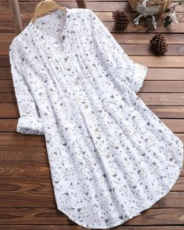 Casual Floral Print Womens V-Neck Pleated Long Sleeve T-Shirt Collection